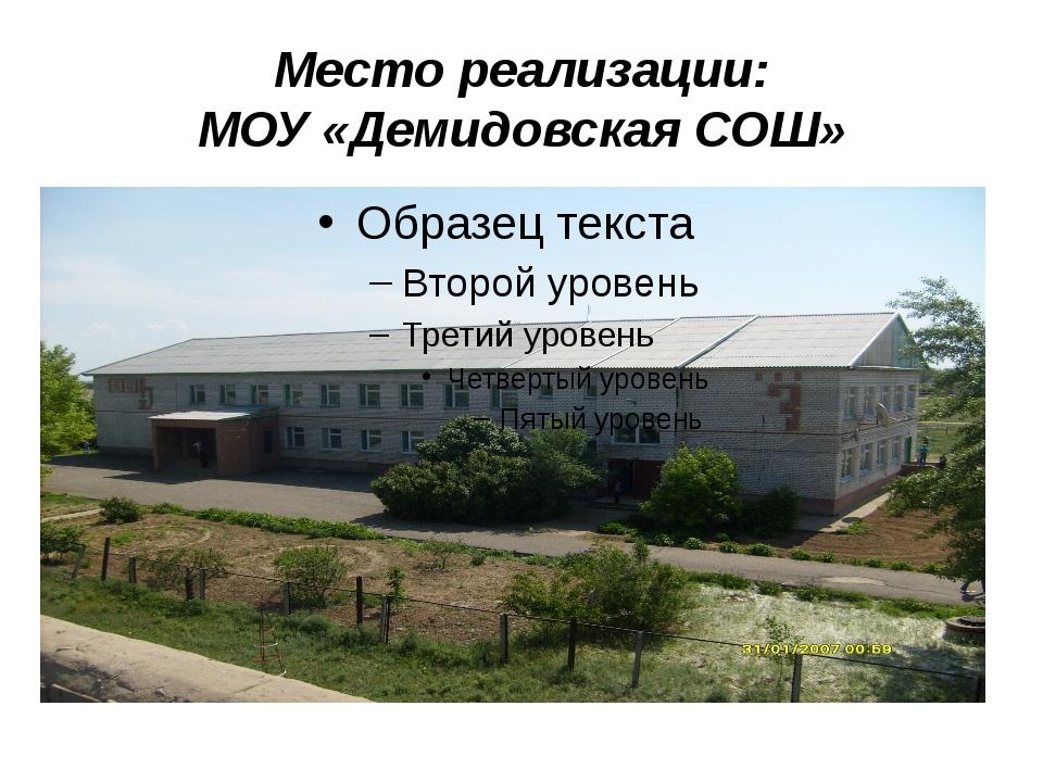 Место реализации: МОУ «Демидовская СОШ»