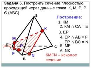 А В С S Задача 6. Построить сечение плоскостью, проходящей через данные точки