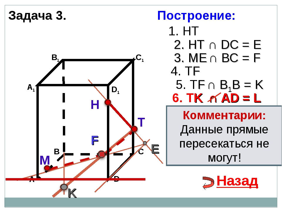 Задача 3. Н Т М 1. НТ 2. НТ ∩ DС = E E 3. ME ∩ ВС = F F 4. ТF 5. ТF ∩ В1В = K...