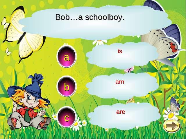 Bob…a schoolboy. a c b is am are