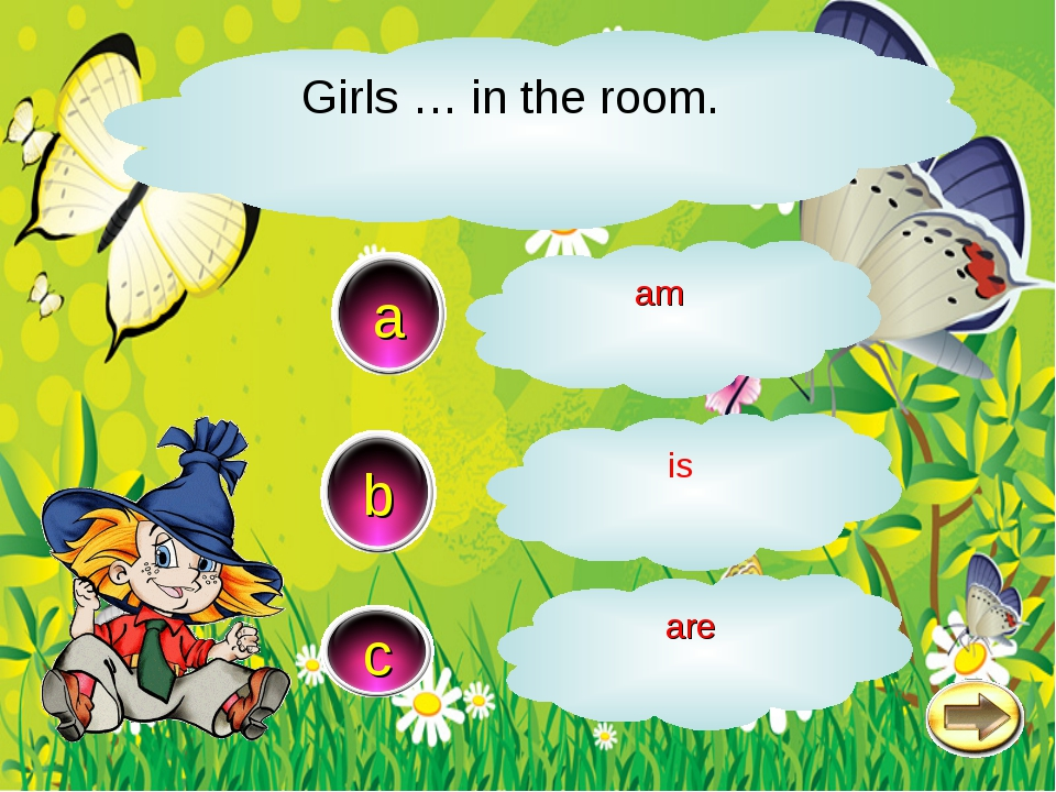 Girls … in the room. c a b are is am