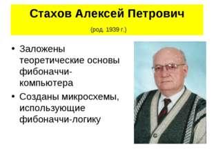 Стахов Алексей Петрович (род. 1939 г.) Заложены теоретические основы фибоначч