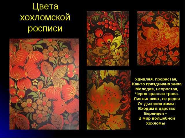 Цвета хохломской росписи Удивляя, прорастая, Как-то празднично жива Молодая,...