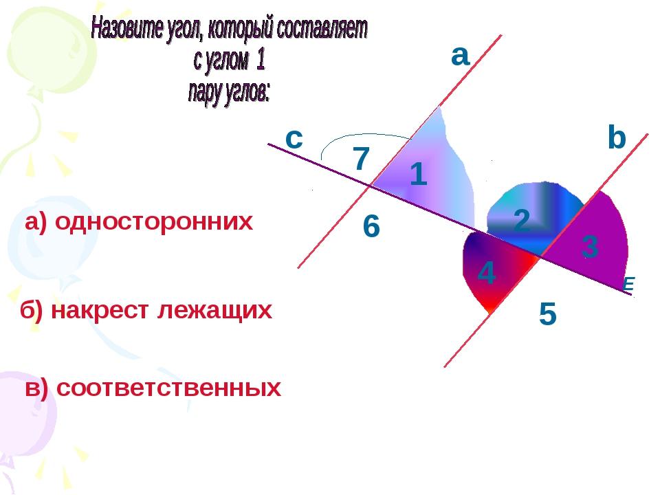 а 4 E 5 1 с а) односторонних b б) накрест лежащих в) соответственных 3 2 6 7