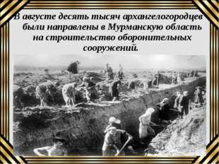 В августе десять тысяч архангелогородцев были направлены в Мурманскую область