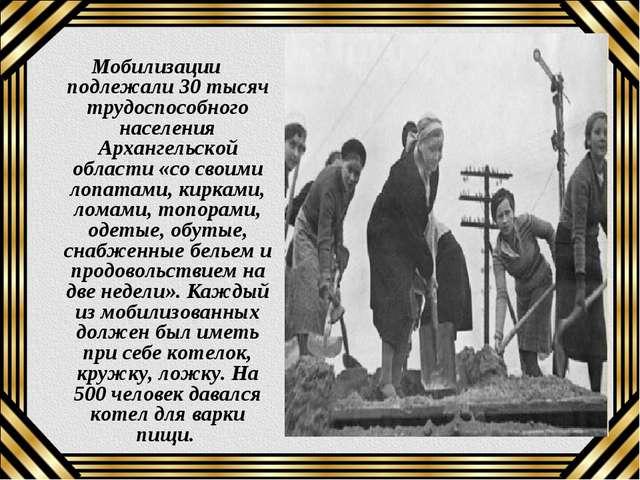 Мобилизации подлежали 30 тысяч трудоспособного населения Архангельской област...