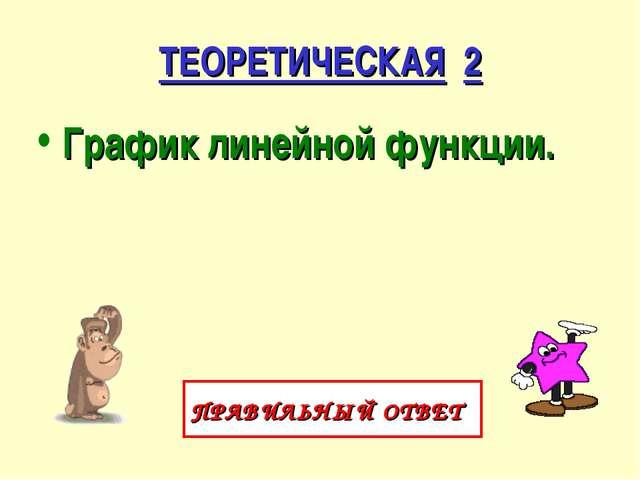 ТЕОРЕТИЧЕСКАЯ 2 График линейной функции. ПРАВИЛЬНЫЙ ОТВЕТ