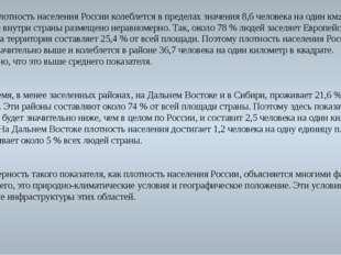Средняя плотность населения России колеблется в пределах значения 8,6 человек