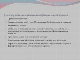 Структура урока систематизации и обобщения знаний и умений Организационный эт