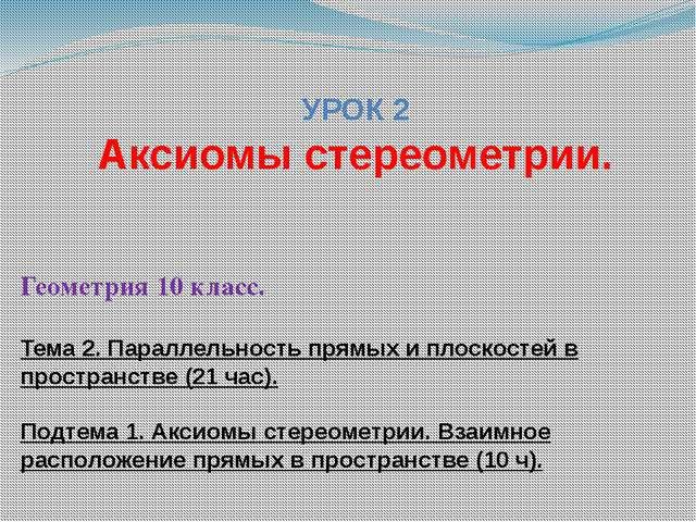 УРОК 2 Аксиомы стереометрии. Геометрия 10 класс. Тема 2. Параллельность прямы...