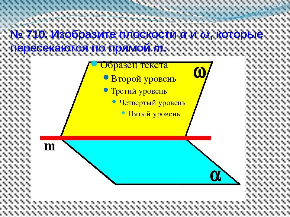 № 710. Изобразите плоскости α и ω, которые пересекаются по прямой m.