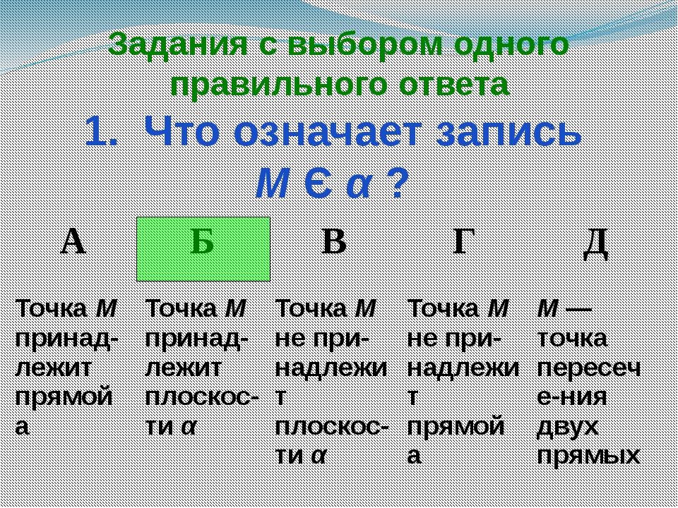 Задания с выбором одного правильного ответа 1. Что означает запись М Є α ? А...