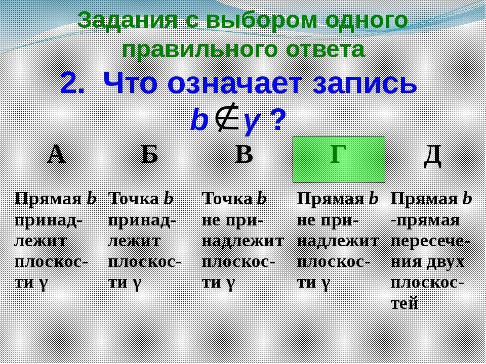 Задания с выбором одного правильного ответа 2. Что означает запись b γ ? А Б...