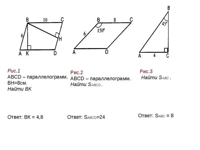 Рис.1 ABCD – параллелограмм, BH=8см. Найти ВК Рис.2 ABCD – параллелограмм. На...