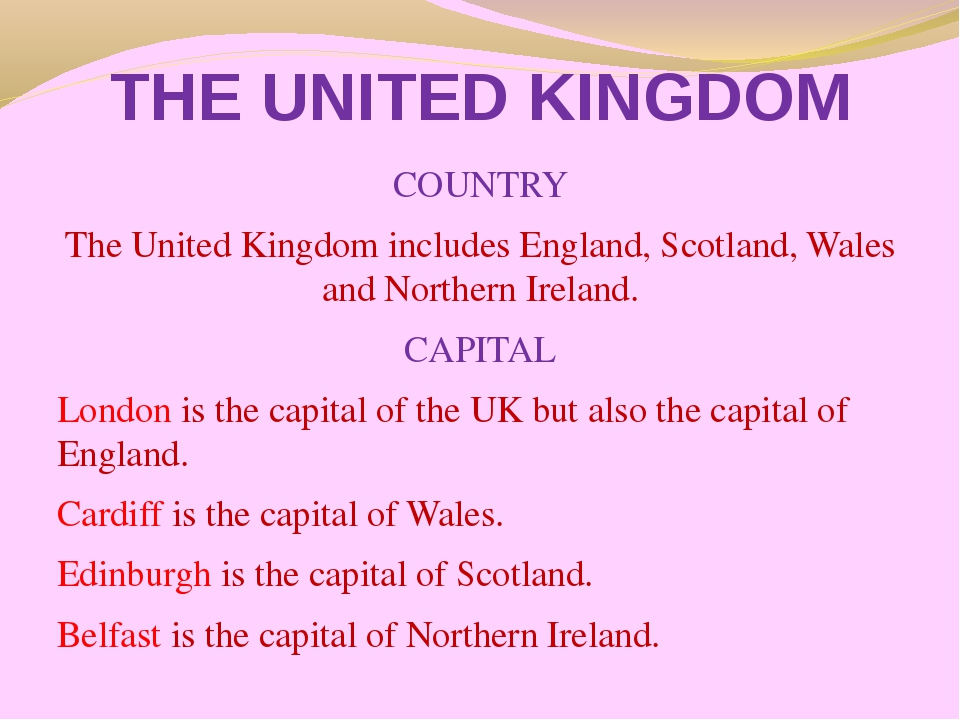 THE UNITED KINGDOM COUNTRY The United Kingdom includes England, Scotland, Wal...