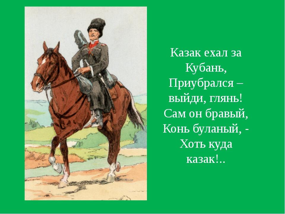 Казак ехал за Кубань, Приубрался – выйди, глянь! Сам он бравый, Конь буланый,...