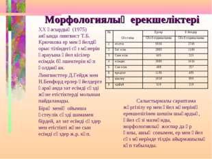 Морфологиялық ерекшеліктері ХХ ғасырдың (1975) аяғында лингвист Т.Б. Крючков