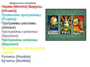 Вредоносные программы Черви (Worms) Вирусы (Viruses) Троянские программы (Tro