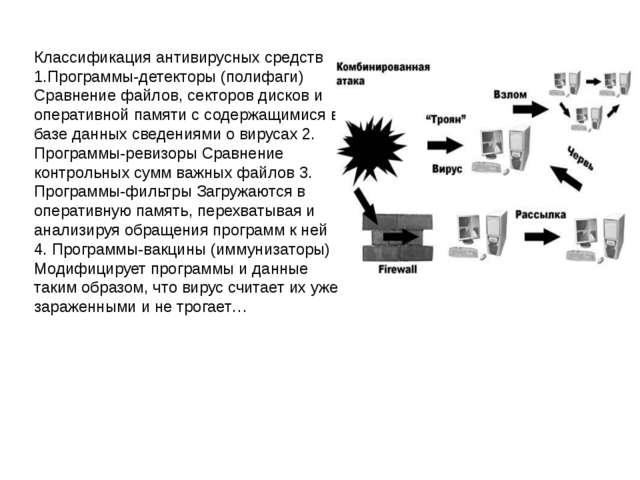 Классификация антивирусных средств 1.Программы-детекторы (полифаги) Сравнение...