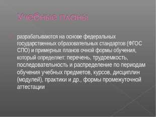 разрабатываются на основе федеральных государственных образовательных стандар