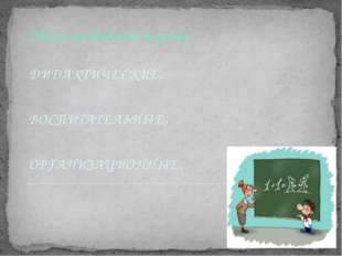 Общие требования к уроку: ДИДАКТИЧЕСКИЕ, ВОСПИТАТЕЛЬНЫЕ, ОРГАНИЗАЦИОННЫЕ.