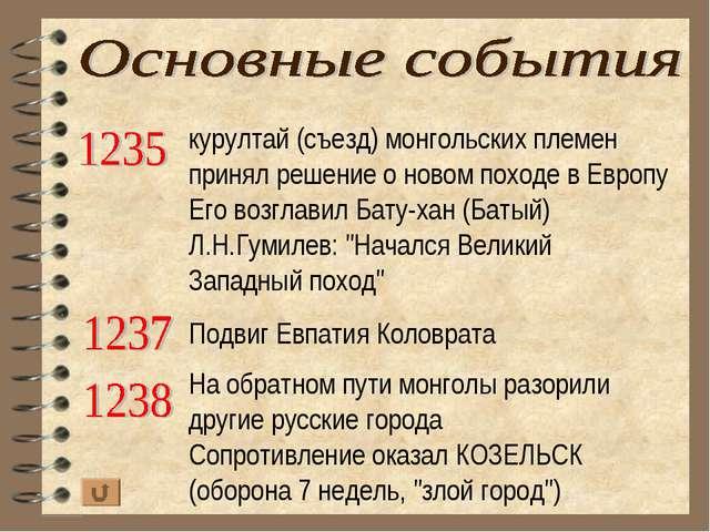 курултай (съезд) монгольских племен принял решение о новом походе в Европу Ег...