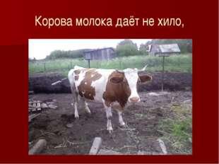 Корова молока даёт не хило,