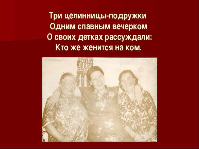 Три целинницы-подружки Одним славным вечерком О своих детках рассуждали: Кто...