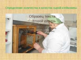 Определение количества и качества сырой клейковины