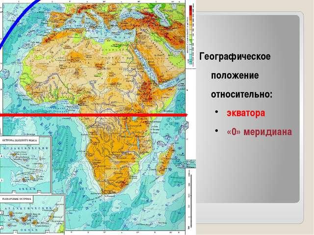 Географическое положение относительно: экватора «0» меридиана