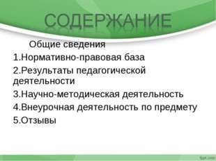 Общие сведения Нормативно-правовая база Результаты педагогической деятельнос