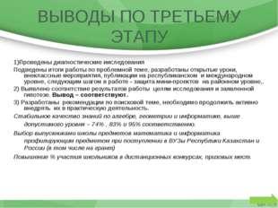 1)Проведены диагностические ииследования Подведены итоги работы по проблемной