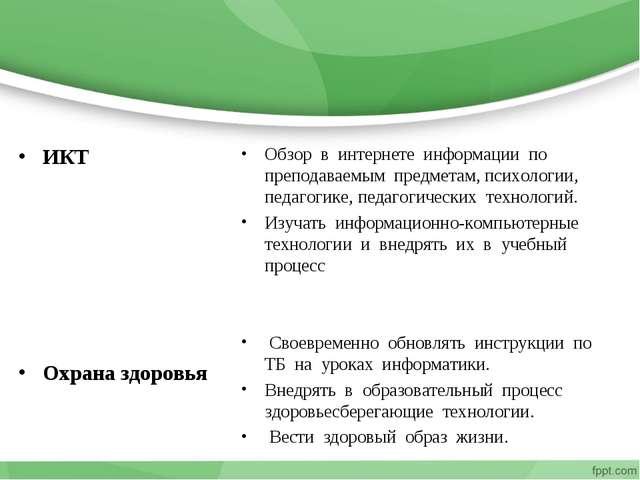 ИКТ Охрана здоровья Обзор в интернете информации по преподаваемым предметам,...