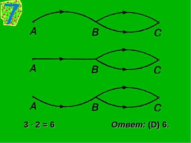 3 · 2 = 6 Ответ: (D) 6.
