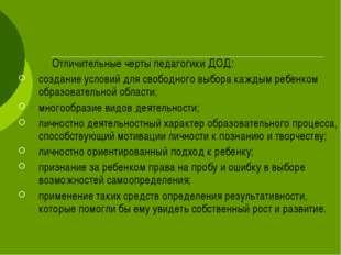Отличительные черты педагогики ДОД: создание условий для свободного выбора