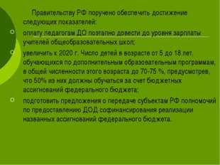 Правительству РФ поручено обеспечить достижение следующих показателей: опла