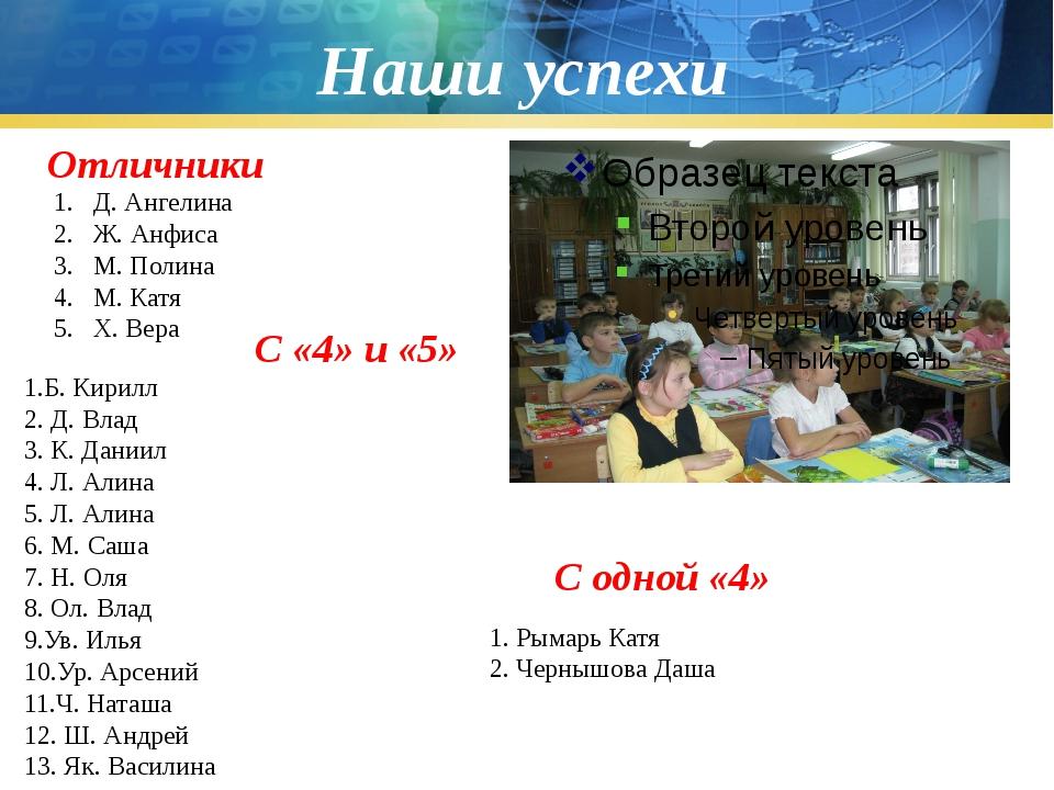 Наши успехи Отличники Д. Ангелина Ж. Анфиса М. Полина М. Катя Х. Вера С «4» и...