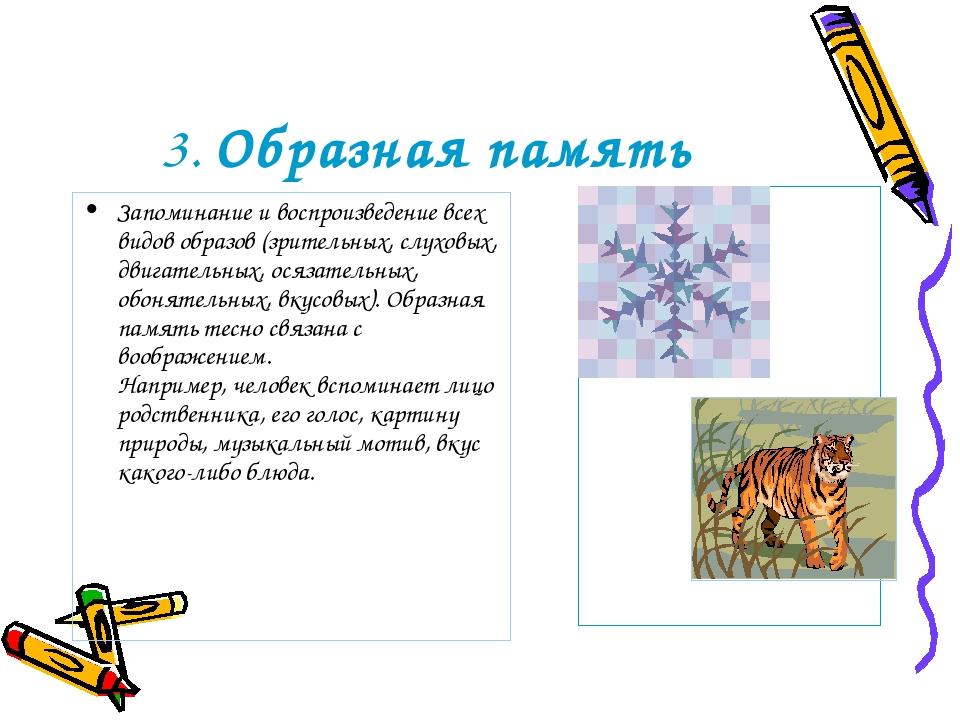 3. Образная память Запоминание и воспроизведение всех видов образов (зрительн...