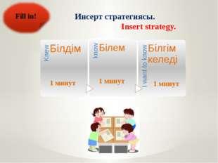 Инсерт стратегиясы. Insert strategy. Fill in!