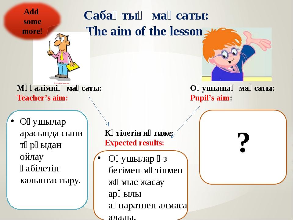 Сабақтың мақсаты: The aim of the lesson: Мұғалімнің мақсаты: Teacher's aim: О...