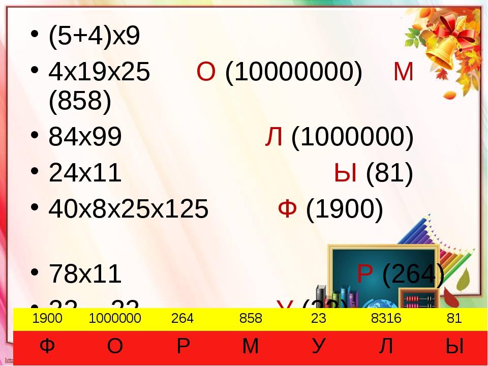 (5+4)х9 4х19х25 О (10000000) М (858) 84х99 Л (1000000) 24х11 Ы (81) 40х8х25х1...