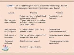 Приём 1. Тема: «Рукотворная жизнь. Искусственный отбор» 4 класс (Одновременно