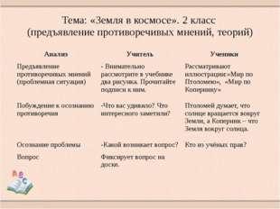 Тема: «Земля в космосе». 2 класс (предъявление противоречивых мнений, теорий)