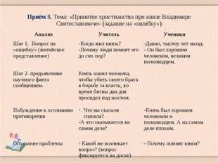 Приём 3. Тема: «Принятие христианства при князе Владимире Святославовиче» (за