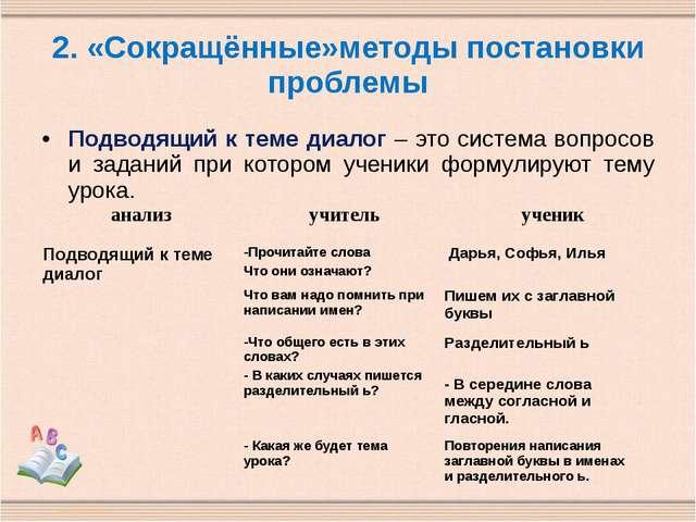 2. «Сокращённые»методы постановки проблемы Подводящий к теме диалог – это сис...