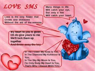 LOVE SMS My heart to you is given Oh do give yours to me We'll lock them up t