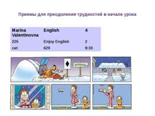 Приемы для преодоления трудностей в начале урока MarinaValentinovna English
