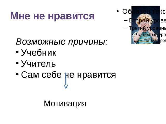 Мне не нравится Возможные причины: Учебник Учитель Сам себе не нравится Мотив...