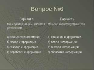 Вопрос №6 Вариант 1Вариант 2 Манипулятор «мышь» является устройством …Монит