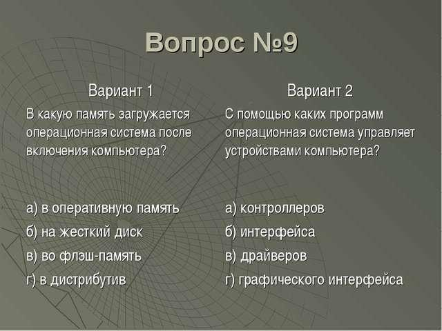 Вопрос №9 Вариант 1Вариант 2 В какую память загружается операционная система...